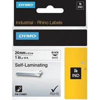 DYMO 1734821 RHINO INDUSTRIAL TAPE SELF LAMINATING 24MM BLACK ON WHITE