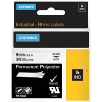 DYMO 18482 RHINO INDUSTRIAL TAPE PERMANENT POLYESTER 9MM BLACK ON WHITE