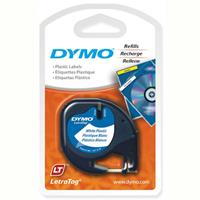 DYMO LETRATAG PLASTIC LABEL TAPE 12MM BLACK ON PEARL WHITE