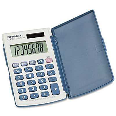 Sharp El243S Pocket Calculator With Twin Power And Hard