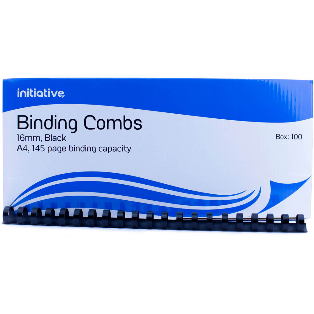 Image for INITIATIVE PLASTIC BINDING COMB 16MM 145 PAGE CAPACITY A4 BLACK BOX 100 from Office Express