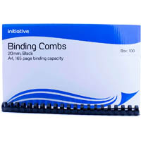 INITIATIVE PLASTIC BINDING COMB 20MM 165 PAGE CAPACITY A4 BLACK BOX 100