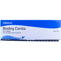 INITIATIVE PLASTIC BINDING COMB 6MM 25 PAGE CAPACITY A4 BLACK BOX 100