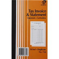 OLYMPIC 724 INVOICE AND STATEMENT BOOK CARBONLESS DUPLICATE 50 LEAF 200 X 125MM