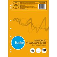 TUDOR R85 LOOSE LEAF REFILL PAPER REINFORCED 7 HOLES 8MM RULED 50 PAGE A4 WHITE