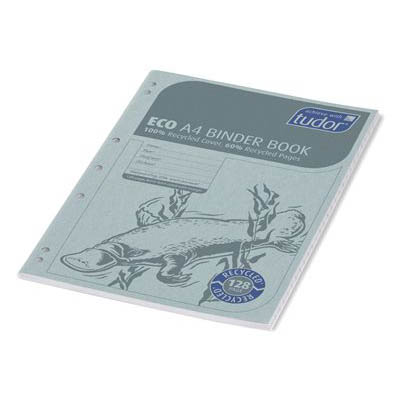 Image For Tudor B812 Eco Binder Book 8mm Ruled 128 Page A4 Blue Platypus From Challenge