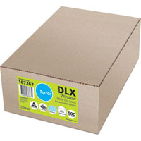 TUDOR DLX ENVELOPES WINDOW FACE MOIST SEAL SECRETIVE 120 X 235MM WHITE BOX 500