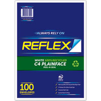 REFLEX C4 ENVELOPES 100% RECYCLED POCKET SECURITY PEEL N SEAL 229 X 324MM WHITE PACK 100