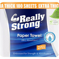 REALLY STRONG KITCHEN TOWEL ROLL 2 PLY 100 SHEET PACK 2