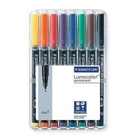 STAEDTLER 318 LUMOCOLOR PERMANENT MARKER BULLET 0.6MM ASSORTED WALLET 8