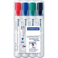 STAEDTLER 351 LUMOCOLOR WHITEBOARD MARKER BULLET POINT ASSORTED WALLET 4