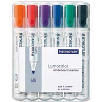 STAEDTLER 351 LUMOCOLOR WHITEBOARD MARKER BULLET POINT ASSORTED WALLET 6