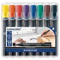 STAEDTLER 352 LUMOCOLOR PERMANENT MARKER BULLET POINT 2.0MM ASSORTED WALLET 8
