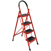 BRADY 4 STEP LADDER 120KG RED