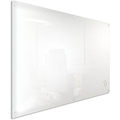 VISIONCHART LUMIERE MAGNETIC GLASSBOARD WITH PEN TRAY 1200 X 600MM WHITE