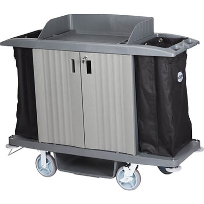 Image for COMPASS HARD FRONT HOUSEKEEPING TROLLEY WITH DOORS GREY from York Stationers