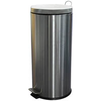 COMPASS STAINLESS STEEL ROUND PEDAL BIN 30L