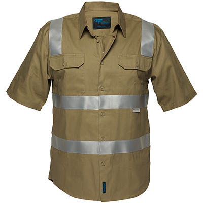 Image For PRIME MOVER MS909 COTTON SHIRT SHORT SLEEVE WITH TAPE OVER SHOULDER KHAKI LARGE From