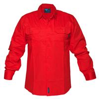 PRIME MOVER MS301 HI-VIS LIGHTWEIGHT COTTON DRILL SHIRT LONG SLEEVE RED