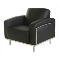 SIENNA LOUNGE ONE SEATER CHROME FRAME PU COVER BLACK
