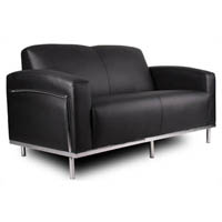SIENNA LOUNGE TWO SEATER CHROME FRAME PU COVER BLACK