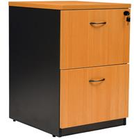 OXLEY 2 DRAWER FILING CABINET 476 X 550 X 700MM BEECH/IRONSTONE