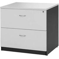 OXLEY LATERAL FILE CABINET LOCKABLE 780 X 560 X 750MM WHITE/IRONSTONE