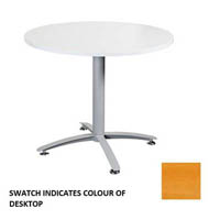 ROUND MEETING TABLE 900MM SILVER STAR BASE BEECH TOP