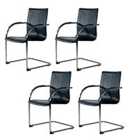 GAMMA VISITORS CHAIR MEDIUM BACK BLACK SET 4