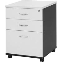 OXLEY MOBILE PEDESTAL 2 DRAWER 1 FILE WHITE/IRONSTONE