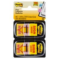 3M 680-SH2 POST-IT MESSAGE FLAGS SIGN HERE YELLOW TWIN PACK 100