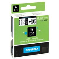 DYMO D1 LABELLING TAPE BLACK ON WHITE 12MM X 7M